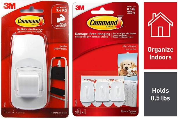 Command icro Plastic Hook(White,3 Hooks and 4 Strips) & Command Jumbo Plastic Utility Hook(White,1 Hook and 4 Strips) Hook