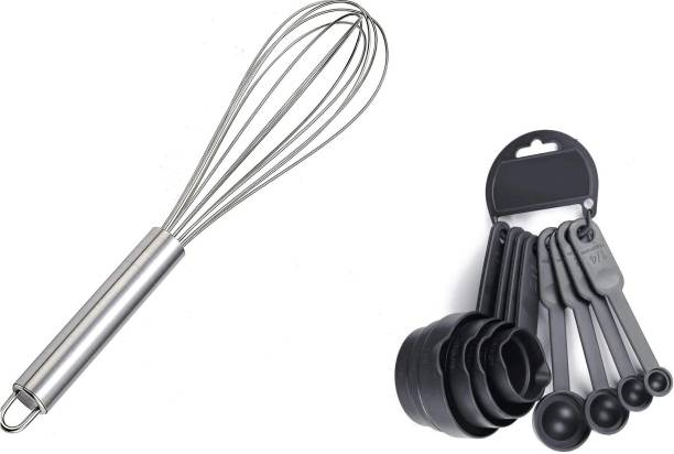 Tuelip 8Pcs Measuring Spoon With Stainless Steel Balloon Whisker Kitchen Tool Set