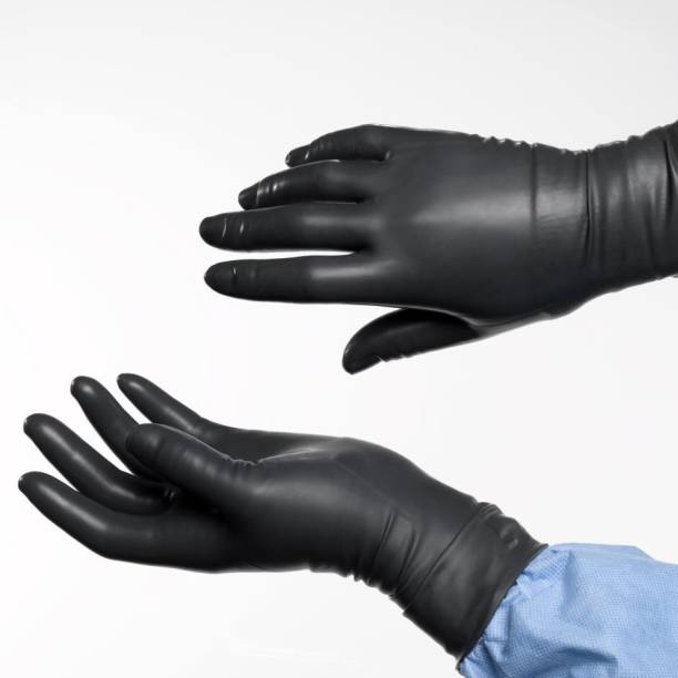 DM India - First Choice Disposable Nitrile Gloves Hand Protection for Hospital, Clinic, Sanitary & Kitchen (Small Size ,Black) Nitrile Surgical Gloves