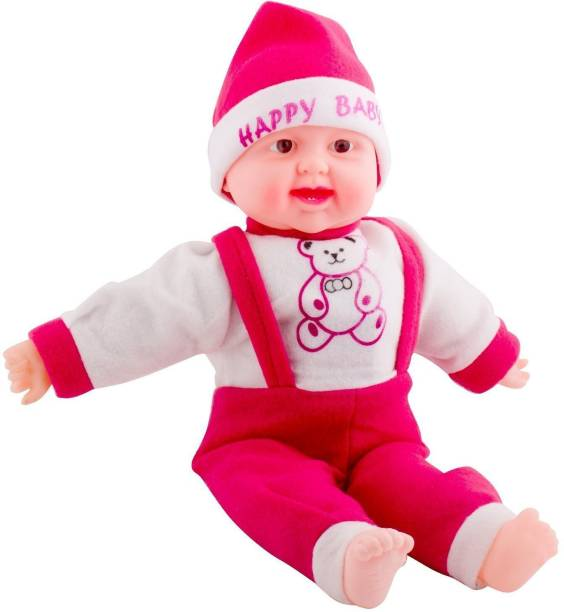 ZeeKart Kids Baby Doll Toy Singing Songs and Poem Baby Girl Doll Large Eye Musical Touch Sensors and Laughing Girl (Red)