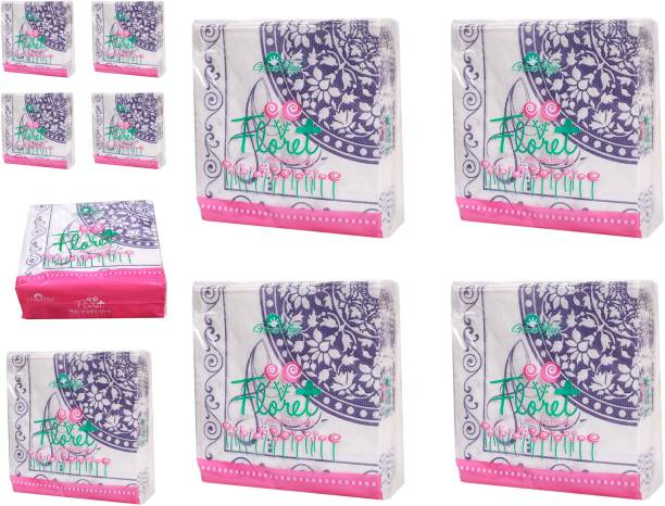 Green Tree Floret Tissue Napkin - 50 pcs in each pack - combo of 10 pack White Napkins
