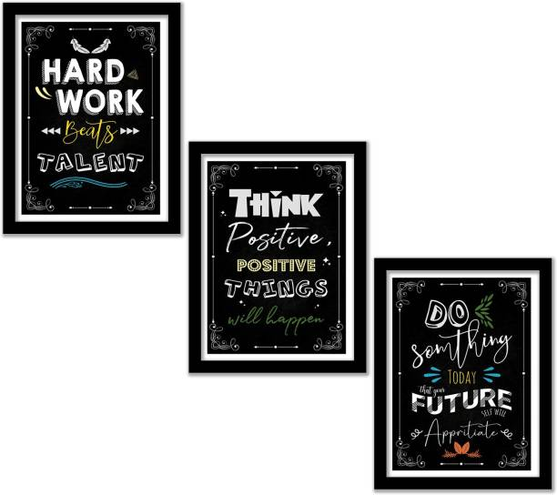 Wall Posters with Frame - Motivational Quotes Wall Frames - Posters for Room Motivational - Framed Posters for Home Living Room Office Wall Decor - Quotes Frame - Inspirational Posters with Frame Paper Print