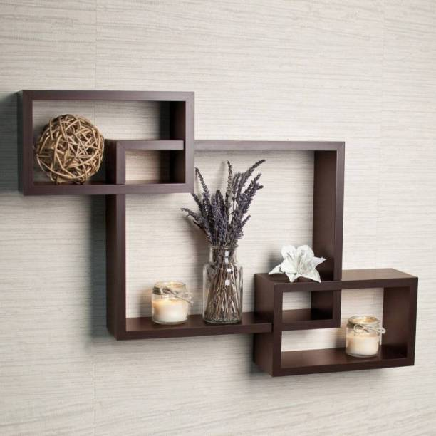 Eco Handicrafts Wall Decoration Shelf Rack MDF Wall Shelf (Number of Shelves - 3, Brown ) Wooden Wall Shelf