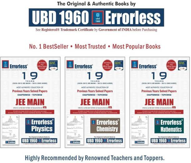 UBD-1960 Errorless Chapterwise-Topicwise 19 Years Solved Papers JEE MAIN (MATH. + PHY. + CHEM.) (3-BOOKS COMBO)As Per NTA