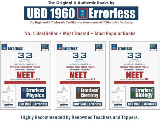 UBD-(P+C+B=33-YEAR COMBO), UBD1960 Errorless Chapterwise-Topicwise 33 Years Solved Papers NEET , As Per NTA