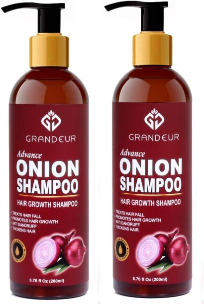 Grandeur (PACK OF 2) Onion Shampoo For Hair Growth With Aloevera, Alkanet Root And Curry Leaf - SLS and Paraben Free - For All Hair Types