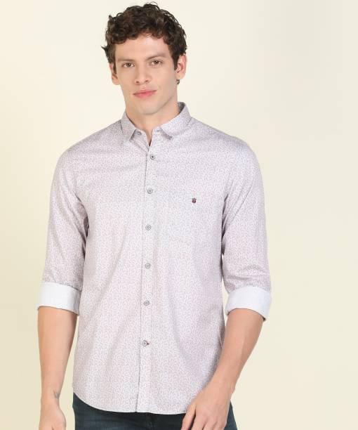 Louis Philippe Sport Men Printed Casual Grey Shirt