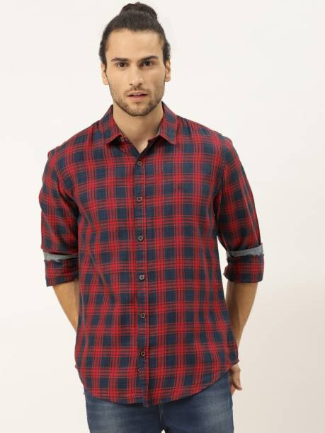 United Colors of Benetton Men Checkered Casual Red Shirt