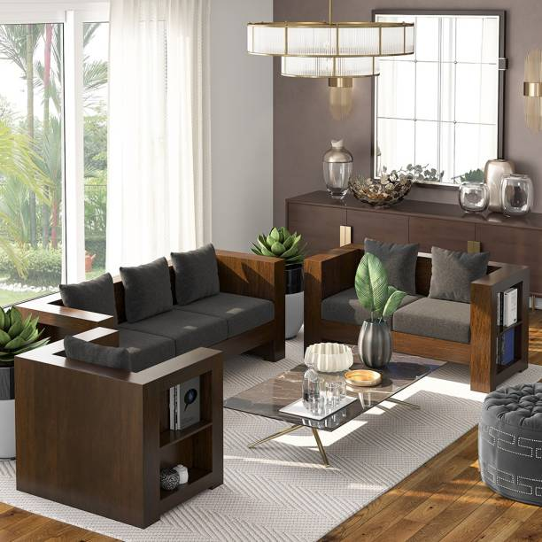 Suncrown Furniture Solid Wood Fabric 6 Seater Sofa for Home Office Hotel Living Room Bedroom 3+2+1 (Walnut, Iron Grey) Fabric 3 + 2 + 1 Iron Grey Sofa Set