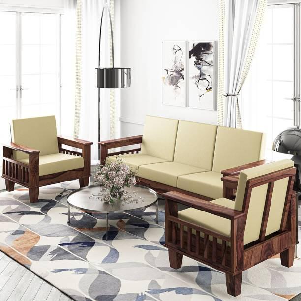 Kendalwood Furniture Solid Sheesham wood Fabric 3 + 1 + 1 Natural Brown Finish Sofa Set