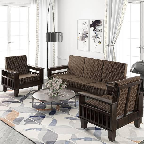 Allie Wood Wooden (Sheesham)Sofa Set for Living Room (Brown Cushion) Fabric 3 + 1 + 1 Teak Finish Brown Cushion Sofa Set