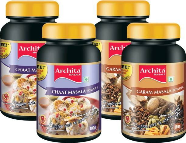 Archita Chaat Masala Powder(100g x 2) & Garam Masala Powder(100g x 2) Pack of 4