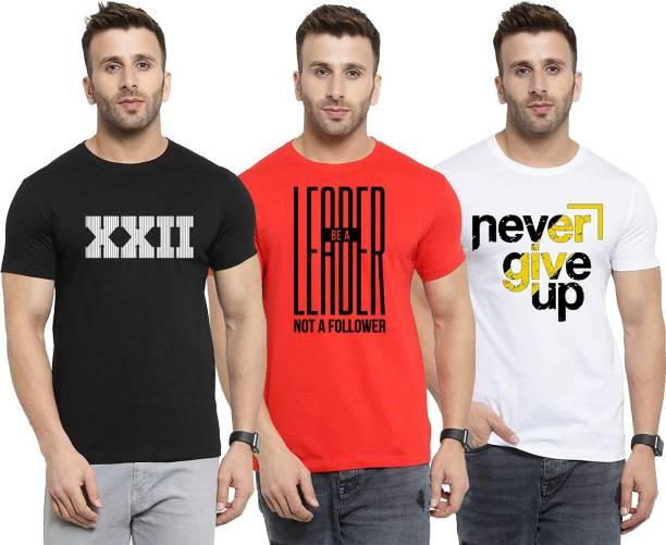 Ansh Fashion Wear Graphic Print Men Round Neck Reversible Black, Red, White T-Shirt