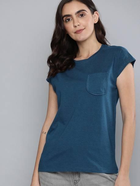 MAST & HARBOUR Solid Women Round Neck Blue T-Shirt