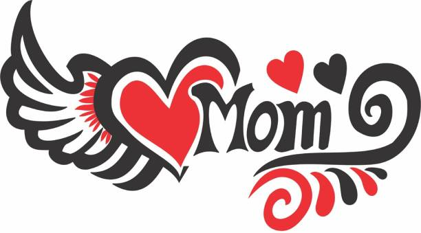 voorkoms Mom with Heart and Wings Tattoo Temporary Body Waterproof Boy and Girl Tattoo