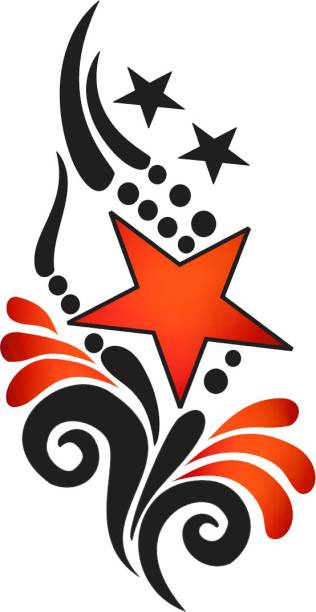 voorkoms Star with Wings Tattoo Temporary Body Waterproof Boy and Girl Tattoo