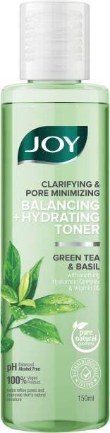 Joy Clarifying and Pore Minimizing Balancing + Hydrating Toner | Green Tea and Basil | With Soothing Hyaluronic Complex & Vitamin B5 | 100% Vegan | Sulphate and Paraben Free Men & Women
