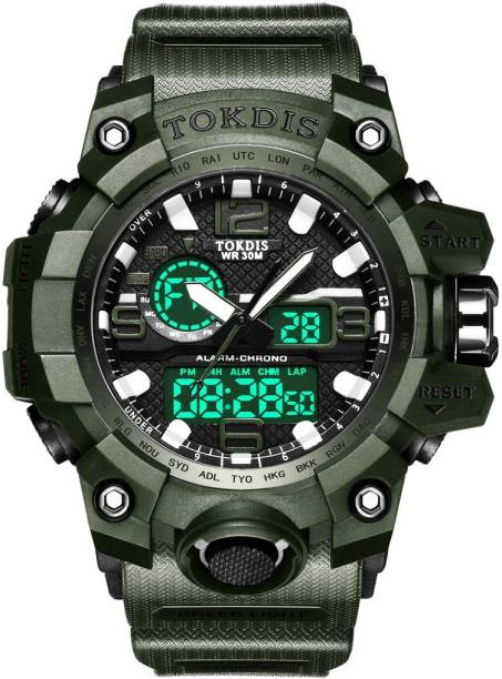 Tokdis Watch For Men - Premium Imported Casual Sporty Analog Digital Automatic Day and Date Function Green Dial Green Synthetic Leather (Silicon) Strap watch for Men and Boys Analog-Digital Watch  - For Men