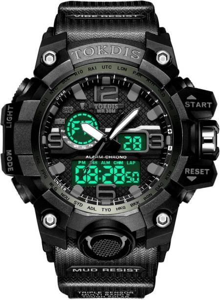 Tokdis Watch For Men - Premium Imported Casual Sporty Analog Digital Automatic Day and Date Function Black Dial Black Synthetic Leather (Silicon) Strap watch for Men and Boys Analog-Digital Watch  - For Men