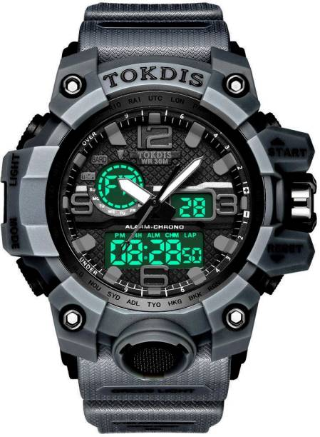 Tokdis Watch For Men - Premium Imported Casual Sporty Analog Digital Automatic Day and Date Function Grey Dial Grey Synthetic Leather (Silicon) Strap watch for Men and Boys Analog-Digital Watch  - For Men