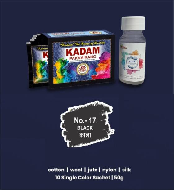 KADAM Fabric Dye Color, Shade 17 Black, Pack of 10 Single Color Pouches