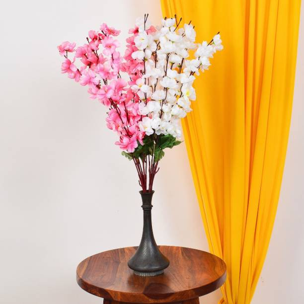 Ryme Combo Of White And Baby Pink Artificial Flower Bunch For Home Decoration Showpiece (Pack Of 2) White, Pink Orchids Artificial Flower