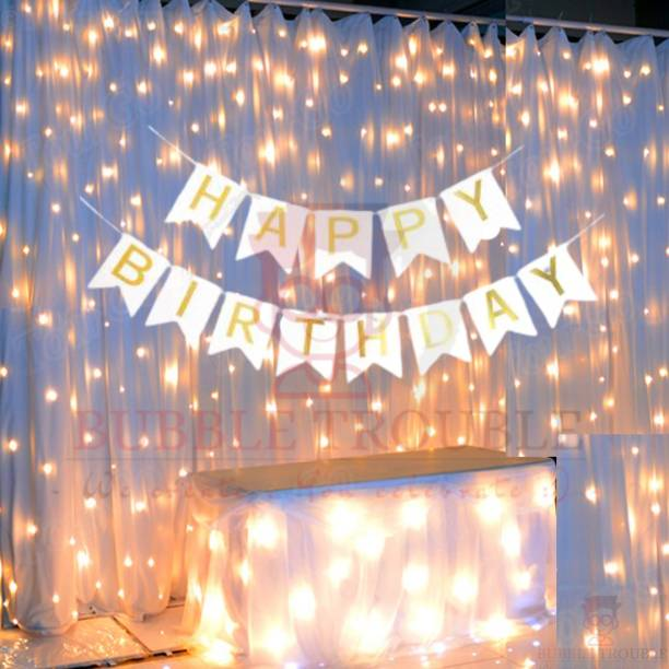 Bubble Trouble White Happy Birthday Banner With Fairy Light Combo (Set of 2) For Birthday Decoration for Boys, Girls, Boyfriend, Girlfriend, Husband,Kids Bday Celebrations,Bunting Tags,Flag Decorative Items Banner Banner