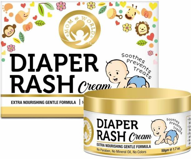 Mom & World Baby Diaper Rash Cream 50g - With Shea Butter, Moroccan Argan Oil, Aloevera - No Parabes, Mineral Oil, Colors - Extra Nourishing Gentle Formula