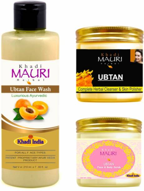 Khadi Mauri Herbal Ubtan De Tan & Skin Brightening Kit, Paraben Free, Pack of 3