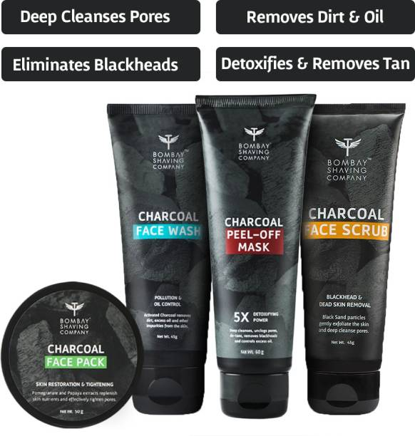 BOMBAY SHAVING COMPANY Activated Charcoal Complete Home Facial Kit   Removes Blackheads, De-tans, Unclogs Pores & Deep Cleanses   Made in India