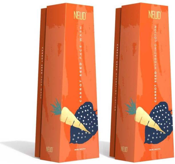 NEUD Carrot Seed Premium Face Wash & Hydrating Lotion Combo for Men & Women (300ml Each)