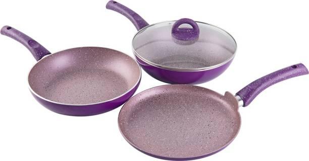 WONDERCHEF Granite Set With Free Dosa Tawa Purple Induction Bottom Cookware Set