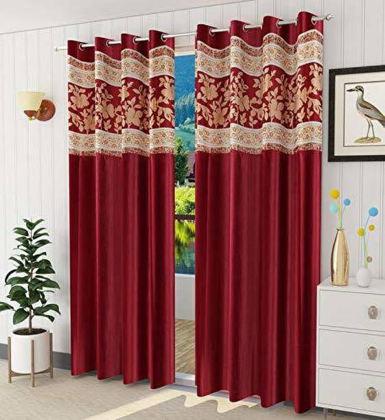 Shingaar Home 153 cm (5 ft) Polyester Window Curtain (Pack Of 2)