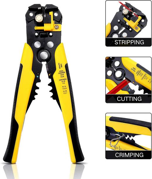 Corslet Multifunctional Automatic Wire Stripper Crimper Cable Cutter 3 in 1 Electrician Tools Hand Tool Automatic Stripping Pliers With Mini Portable Wire Stripper Knife Crimper Pliers Crimping Tool Cable Stripping Wire Cutter Multi Tools Cut Line Pocket Multitool Multifunctional Automatic Wire Stripper Crimper Cable Cutter 3 in 1 Electrician Tools Hand Tool Automatic Stripping Pliers Wire Cutter