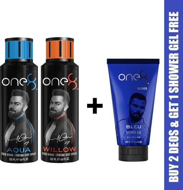 one8 by Virat Kohli One8 Combo Buy 2 Deo's(Aqua+Willow) and Get 1 Shower Gel Free (Bleu) Deodorant Spray  -  For Men