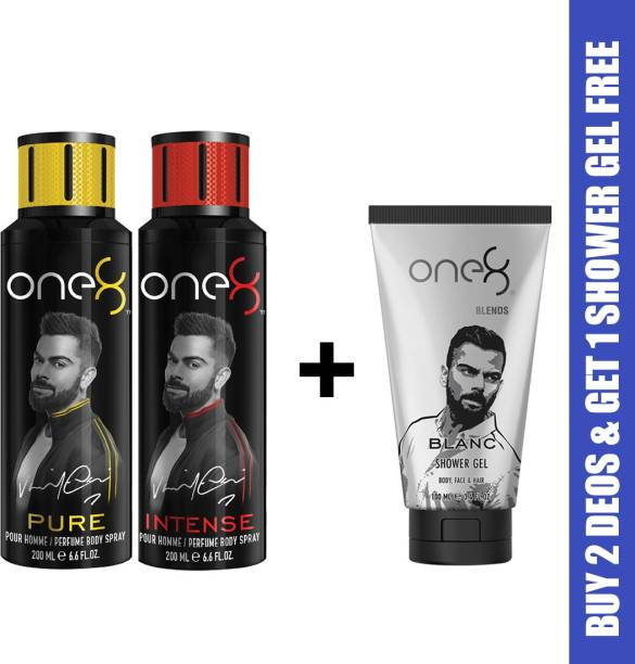 one8 by Virat Kohli One8 Combo Buy 2 Deo's (Pure+Intense) and Get 1 Shower Gel Free (Blanc) Deodorant Spray  -  For Men