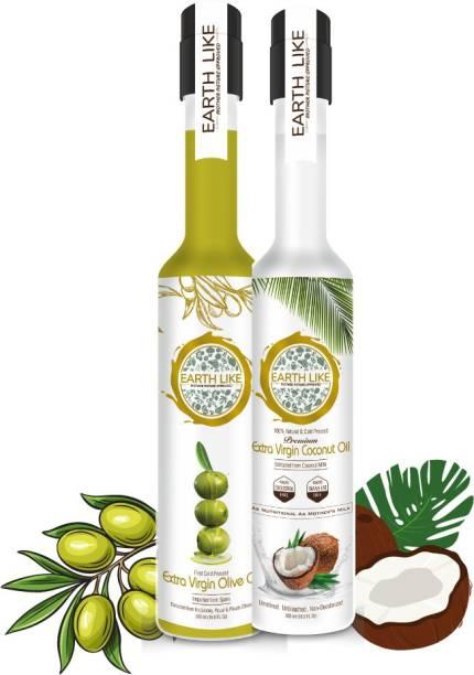 Earth Like Extra Virgin coconut oil / Extra Virgin Olive oil - 500 ml(pack of 2) Coconut Oil PET Bottle