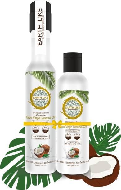 Earth Like Extra Virgin coconut oil 250ml 100ml Coconut Oil PET Bottle