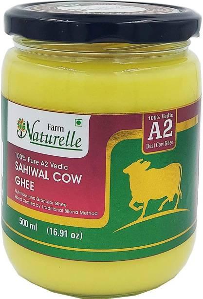 Farm Naturelle Pure Desi Cow Ghee from A2 Milk 500Ml Glass Bottle Ghee 500 ml Glass Bottle
