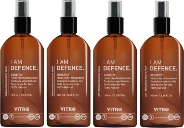 Vitro Naturals Anti Mosquito Repellent Body Spray | Non toxic | Eco Friendly I No side effect | 100% Natural | I AM Defence Anti Mosquito Body Spray 100 ML- Pack of 4