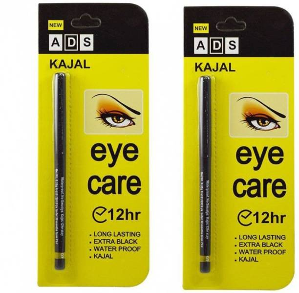 ads Kajal Waterproof Long-Lasting (0.70g Pack Of 2) (Black)