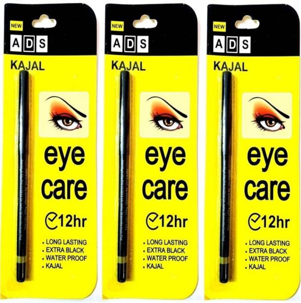 High Fly ADS Kajal Long Lasting Extra Black Waterproof ( Pack of 3)