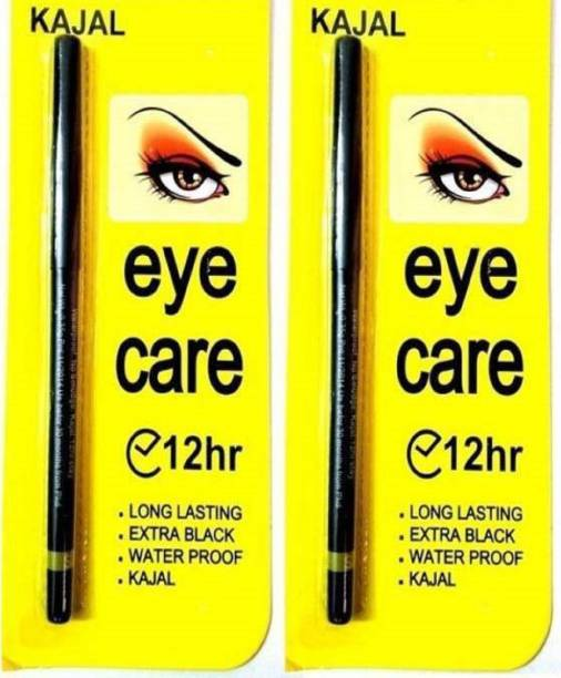 eyecare eye kajal Deep black eye kajal 12 hours Water & smudge proof [pack-of 2] Black for dramatic eye
