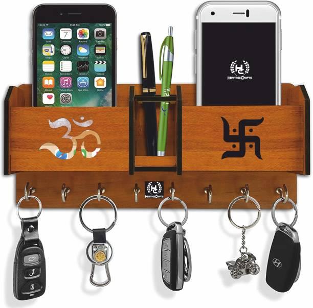 Heritagecrafts Special Addition Om Swastik Unique Wooden 2 Pocket Pen Stand 8 Hook Wood Key Holder
