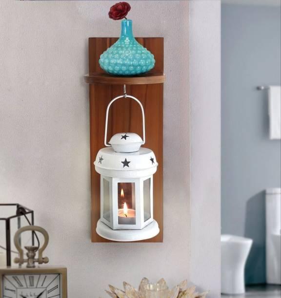 TIED RIBBONS Wall Hanging Metal Lantern Tea light Candle Holder (White) White Metal Hanging Lantern