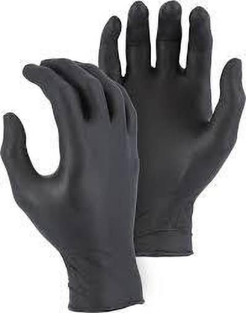 DM India - Good Quality Powder Medical Examination Nitrile Hand Gloves to Prevent Hand from Infection / Viruses (Black, Small Size) Nitrile Surgical Gloves