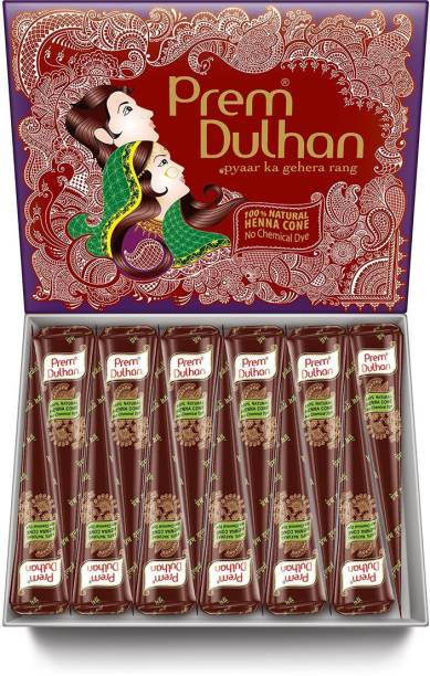 Prem Dulhan Mehendi Cone 12pc in 1 box, made from 100% pure leaf of natural No Chemicals, No PPD, No Side Effects (PURPLE BOX- BROWN CONE) Natural Mehendi
