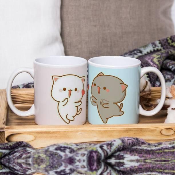 Flipkart SmartBuy Funny Loving Cats Ceramic Coffee Mug
