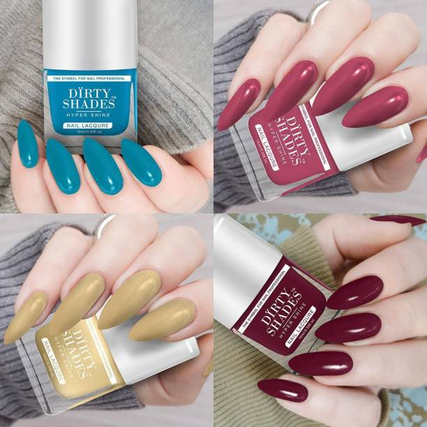 DIRTY SHADES Nail Polish High quality in wholesale price combo set of 4 Pcs Multicolor