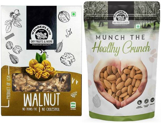 WONDERLAND Dry Fruits Combo Pack of Almond (200 g) and Walnut Kernels (200 g) Almonds